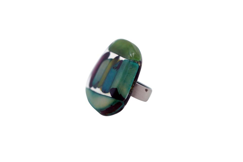 Mosaic Tagua and Resin Ring - Summer Cool