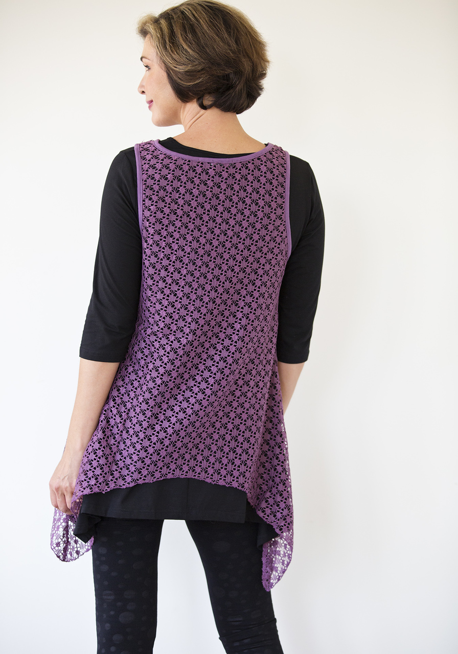 Asymmetrical Lace Overlay - Purple