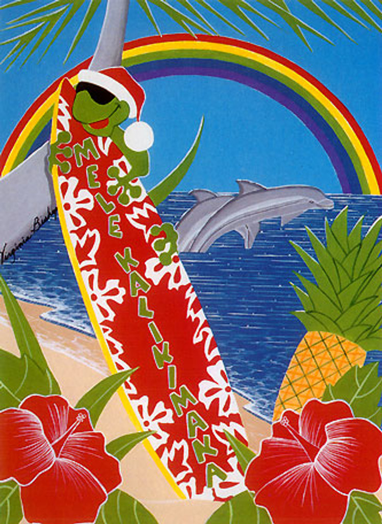 Christmas Cards - Coral Cards - C0526 / Surfboard Gecko / 10 cards per box