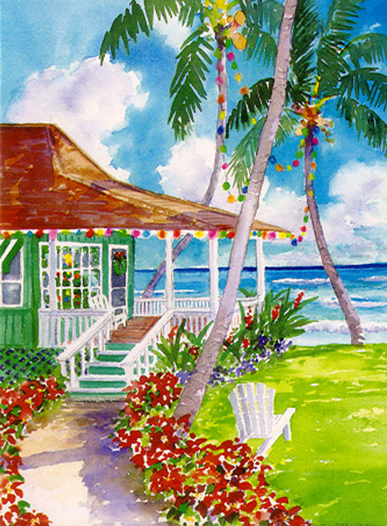 DISCONTINUED - Christmas Cards - Coral Cards - C0516 / Plantation Beach House / 10 cards per box