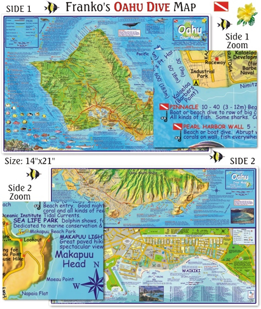 Oahu Dive Map (Laminated)