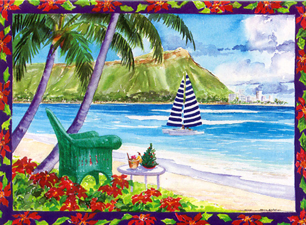 Christmas Cards - Coral Cards - C0508 / Diamond Head W/Border / 10 cards per box