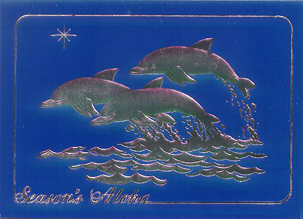 Christmas Cards - Great Creations - XF0026 / Porpoise Blue And Silver / 10 cards per box