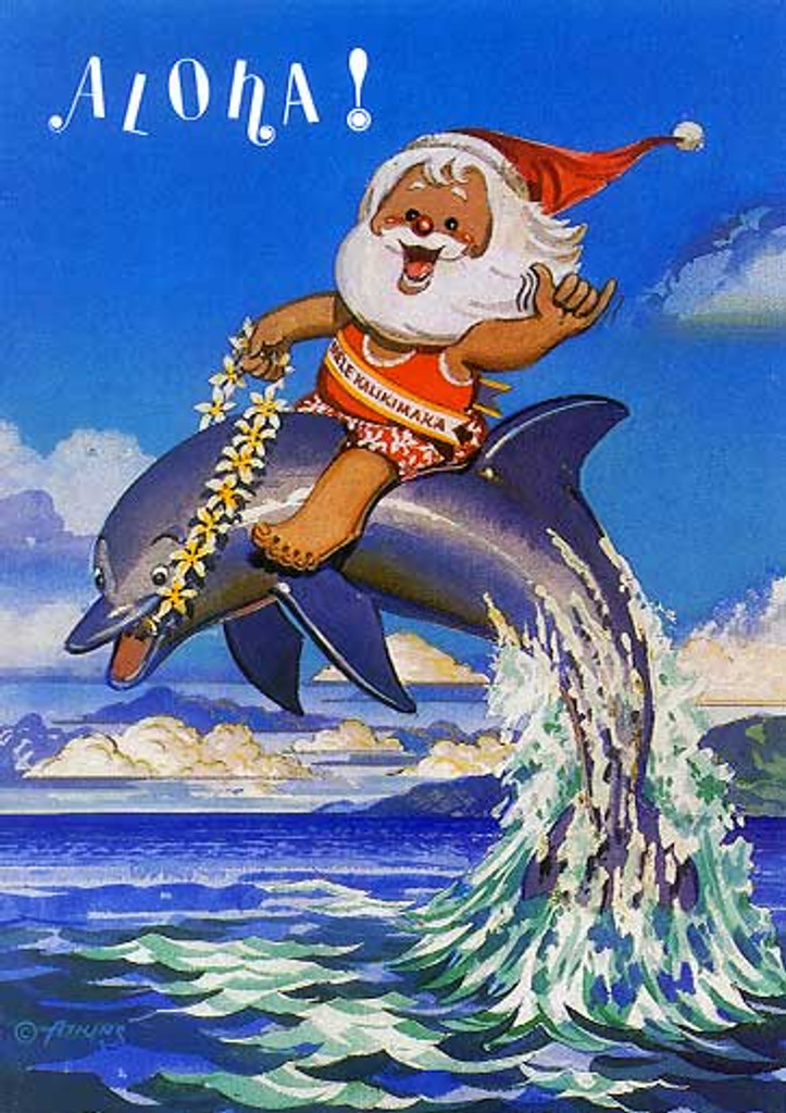 Christmas Cards - Great Creations - X0002 / Santa Riding Porpoise / 10 cards per box