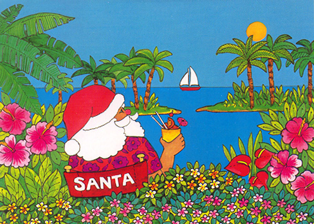 Christmas Cards - Coral Cards - C0447 / Santa Drinks Cocktail / 10 cards per box