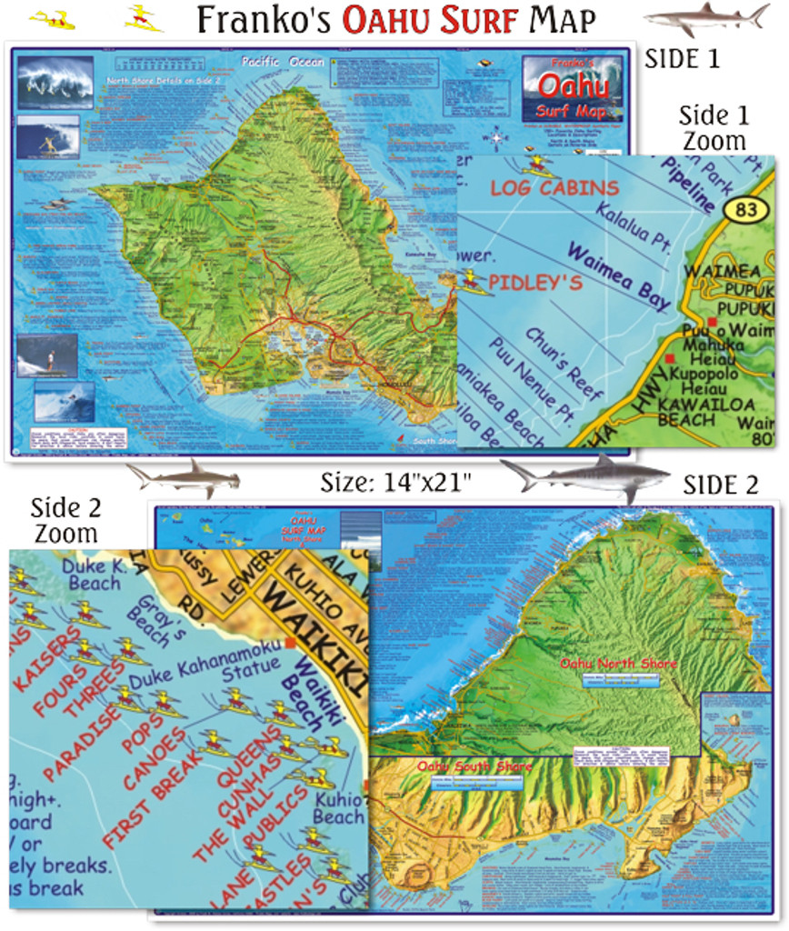 Oahu Surf Map (Laminated)