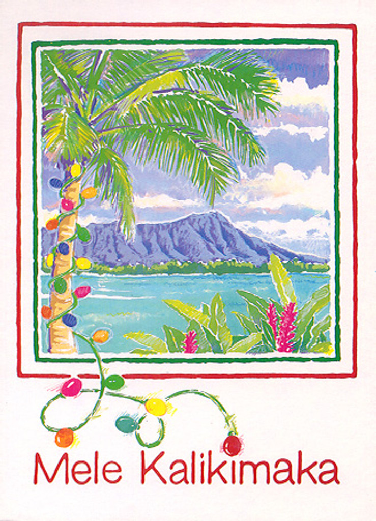 Christmas Cards - Coral Cards - C0509 / Diamond Head W/Lights / 10 cards per box