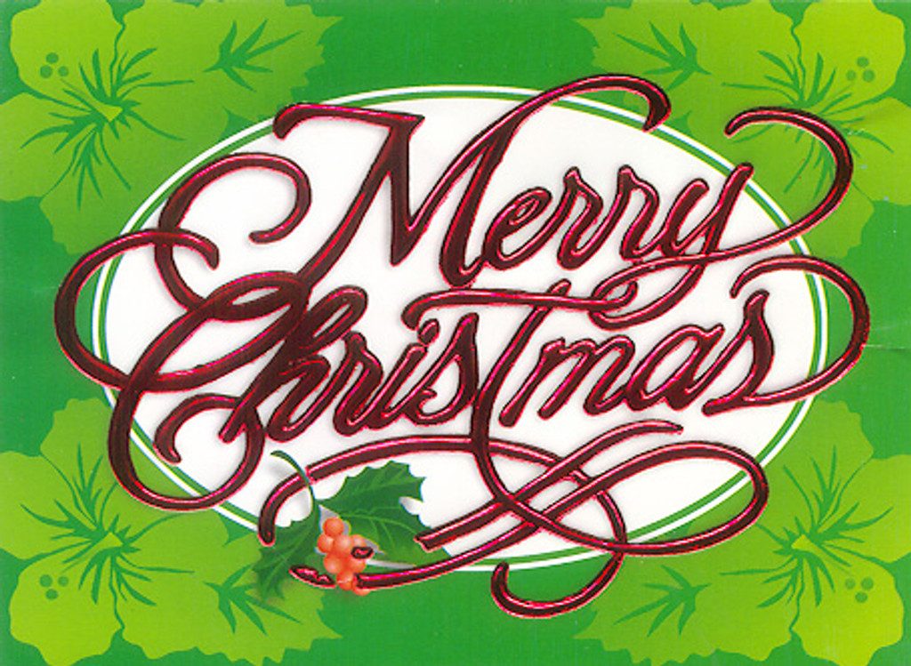 Christmas Cards - Coral Cards - CF1327 / Green Hibiscus / 10 cards per box