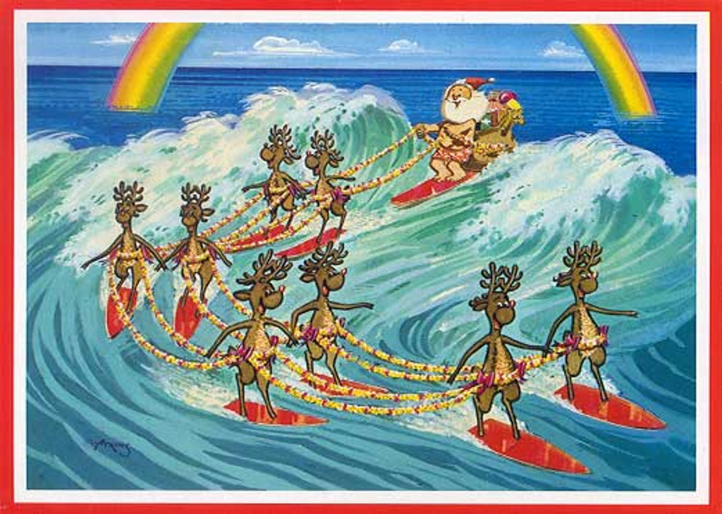 Christmas Cards - Great Creations - X0010 / Santa Reindeer Surfing / 10 cards per box
