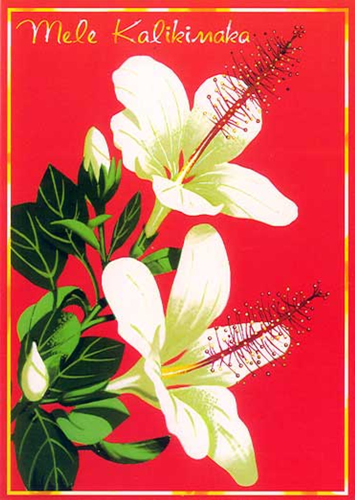 Christmas Cards - Great Creations - X1132 / White Hibiscus / 10 cards per box