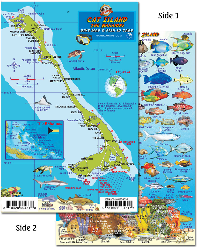 Cat Island The Bahamas (Dive Map and Fish Card)