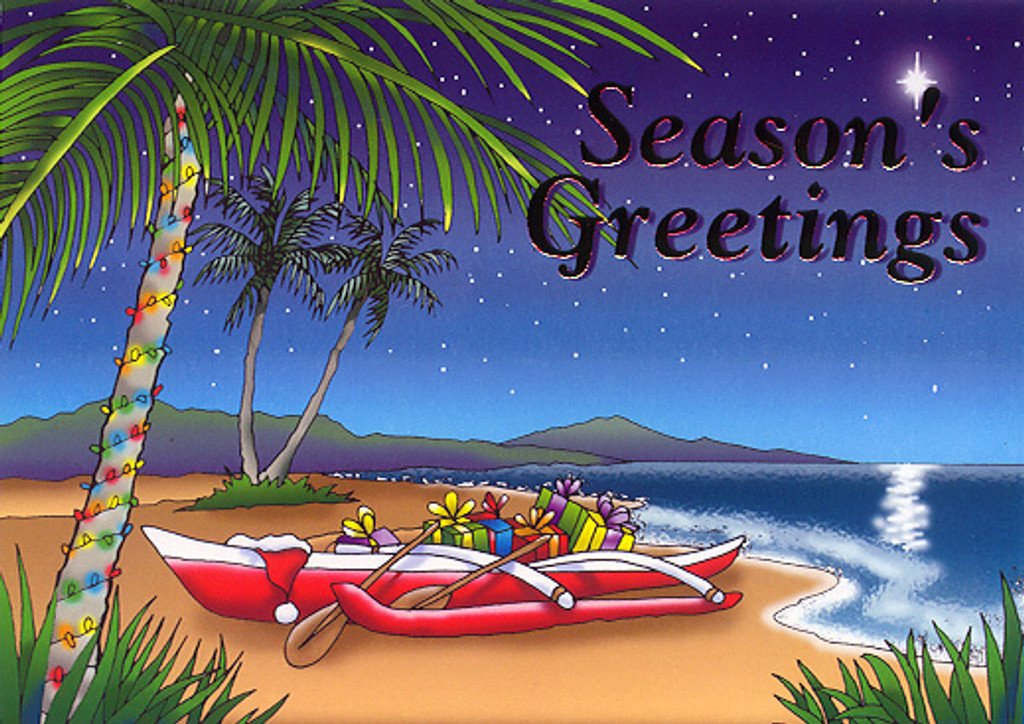 Christmas Cards - Hawaiian Holidays - HF0006 / Canoes On Beach / 10 cards per box