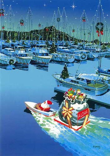 Christmas Cards - Great Creations - X1118 / Santa In Boat Harbor / 10 cards per box