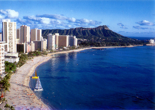 P214 - Waikiki Beach Postcard 50 Pack