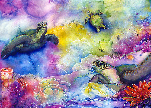 Rainbow Sea Turtle - Notecard 6 Pack