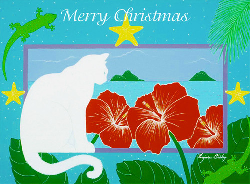 Christmas Cards - Coral Cards - Lanikai Cat / 10 cards per box