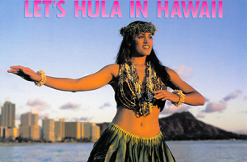 P159 - Girl - Let's Hula! Postcard 50 Pack