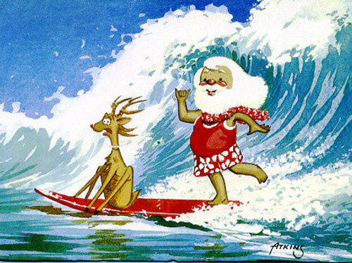 Christmas Cards - Coral Cards - C0288 / Santa Surf W/Rudolph / 10 cards per box