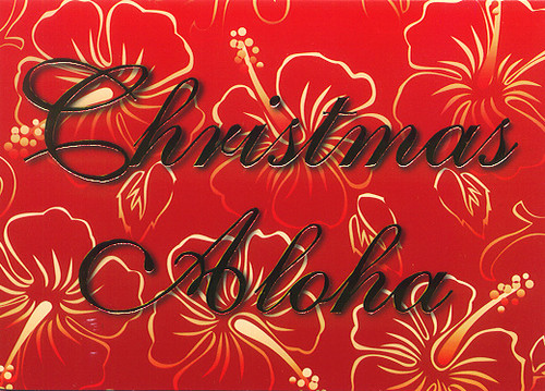 Christmas Cards - Hawaiian Holidays - HF0023 / Christmas Aloha Hibiscus / 10 cards per box