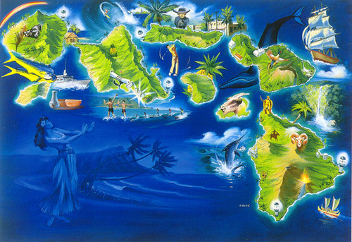 P276 - Map of Islands Postcard 50 Pack