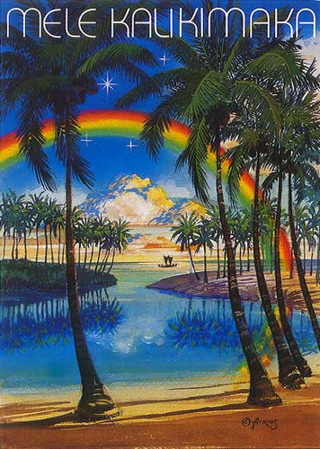 Christmas Cards - Great Creations - X0004 / Scenic Palms Rainbow / 10 cards per box