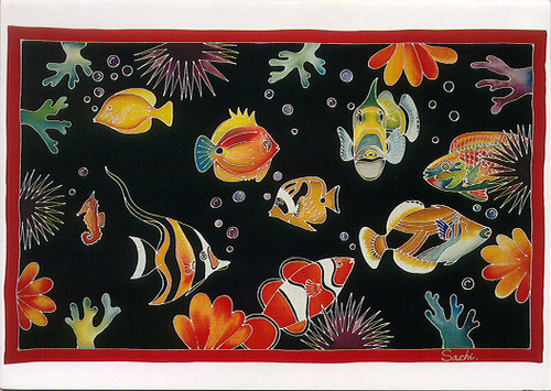 Tropical Fish Batik - Notecard 6 Pack
