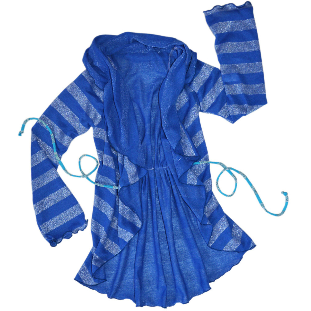 eb8cb0c3bbdd Twirly Girl Girls Lightweight Blue Striped Sweater Soft Jersey Sparkly Fun  Cute