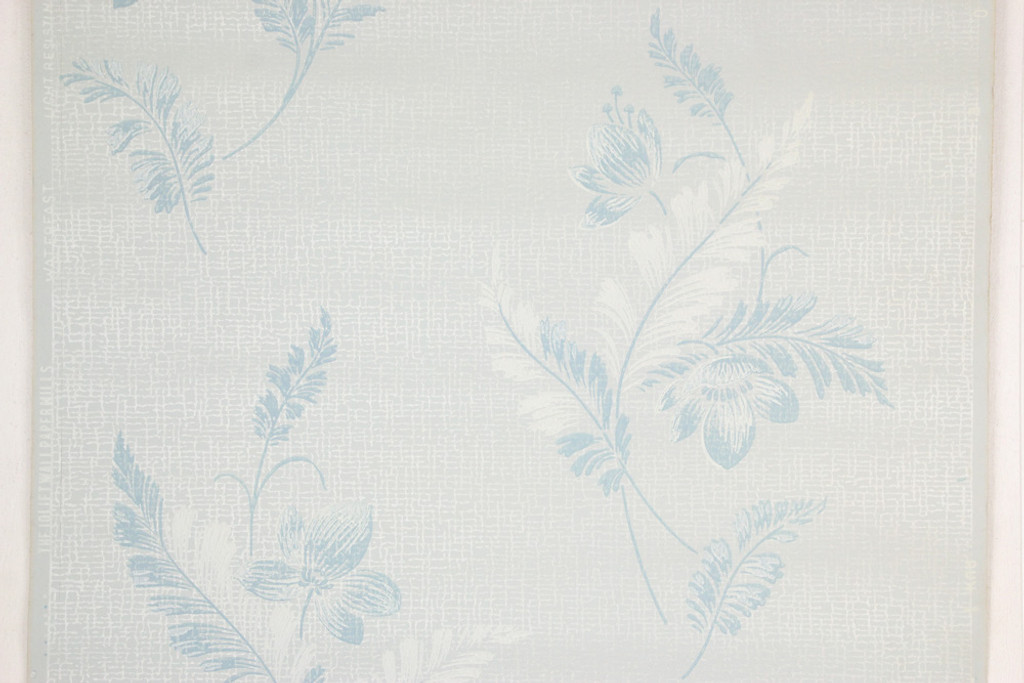 1950s Vintage Wallpaper Blue and White Flowers on Light Blue