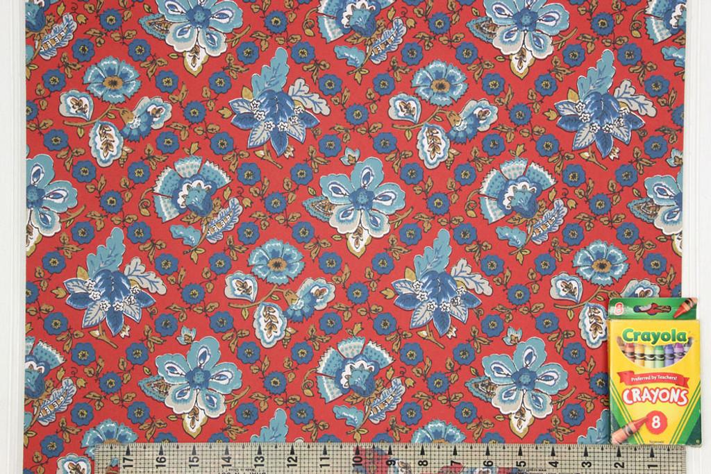 1960s Vintage Wallpaper Blue Floral Geometric on Red