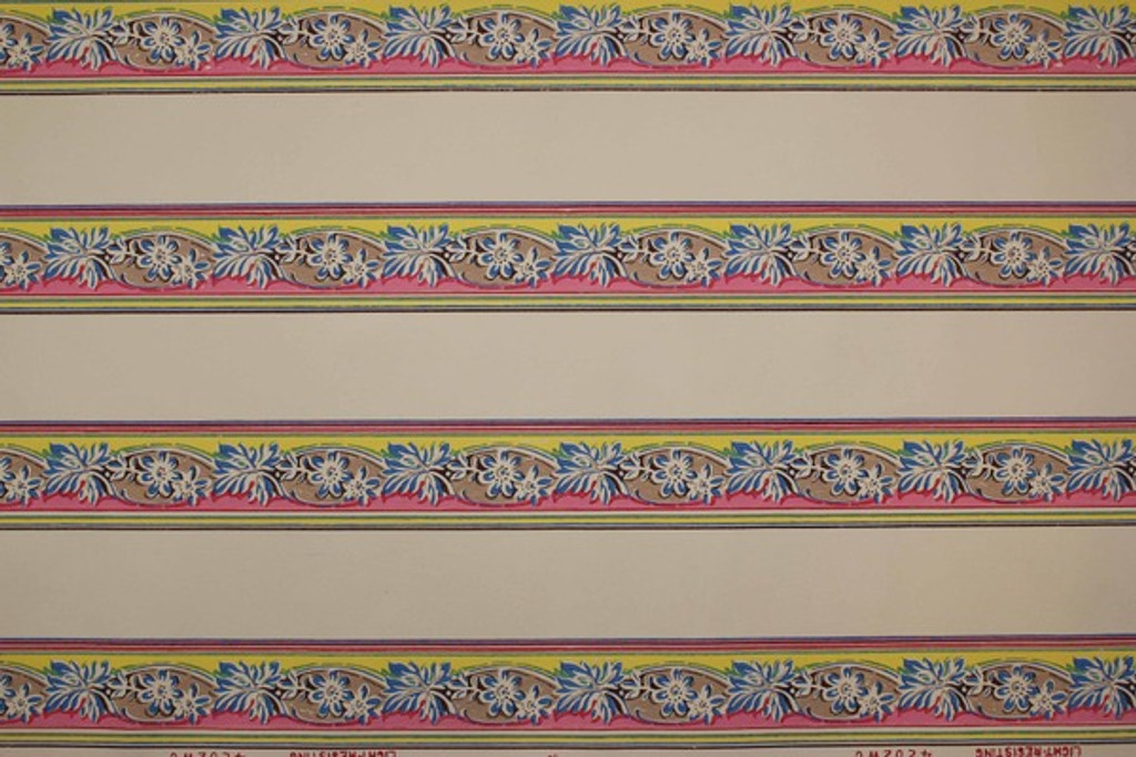 1940s Vintage Wallpaper Border Blue Flowers on Pink and Yellow