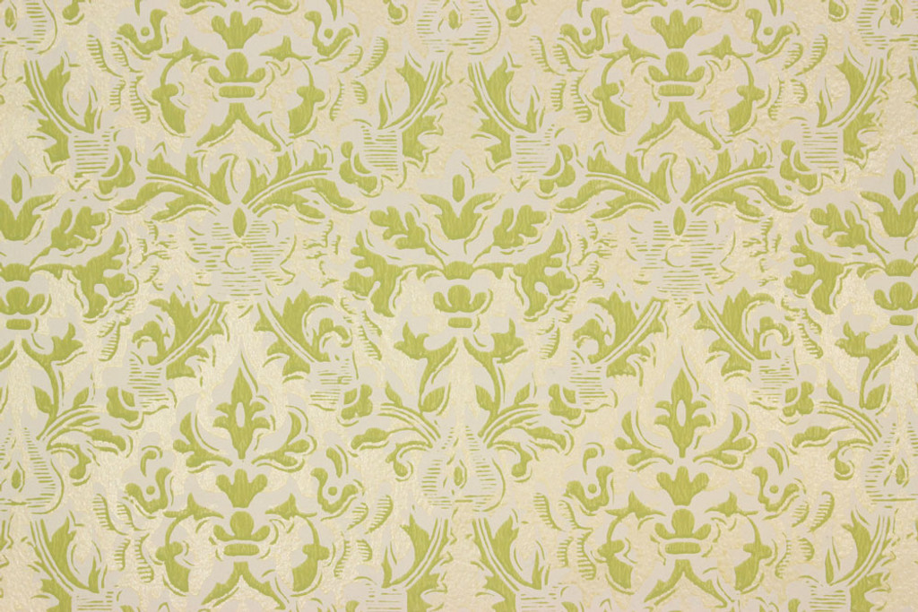 1960s vintage wallpaper damask design green on gold rosie s