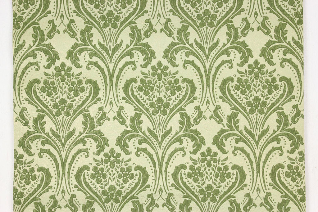 1960s vintage wallpaper damask design green on gold green rosie s