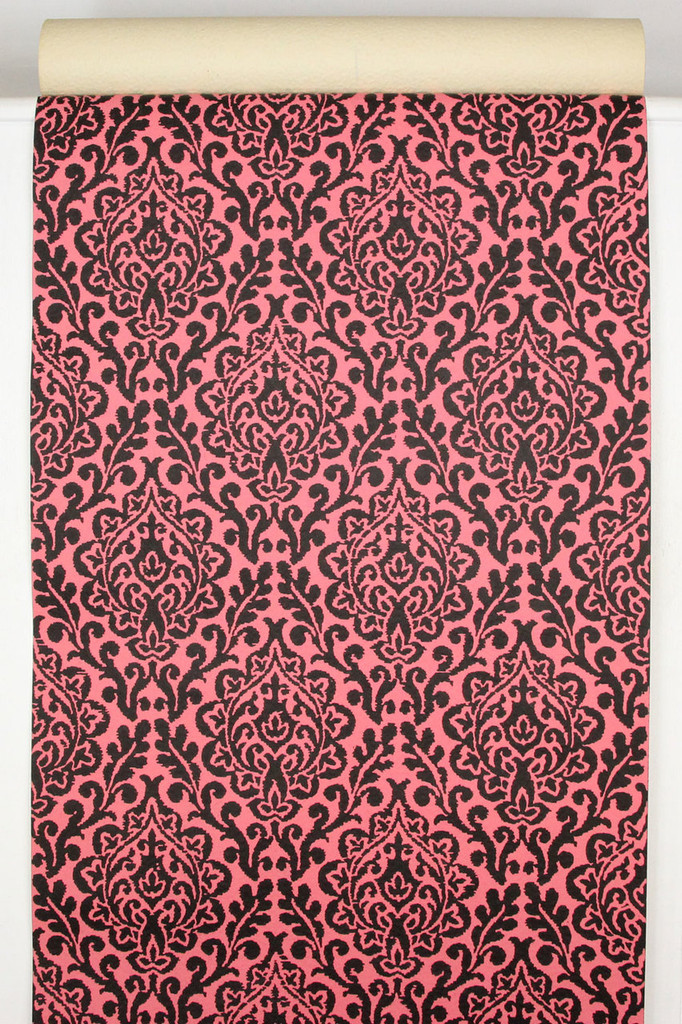 1970s vintage wallpaper pink and black damask rosies