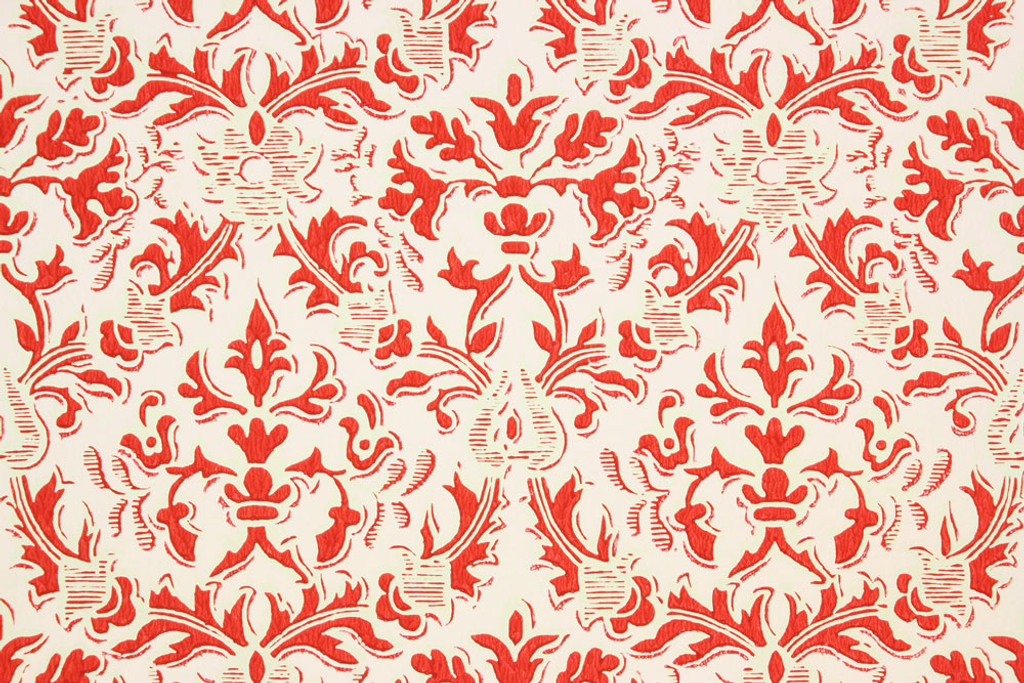 1960s vintage wallpaper damask design red on pink rosie s vintage