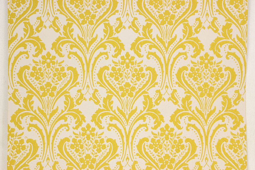 1960s vintage wallpaper yellow damask design rosie s vintage wallpaper