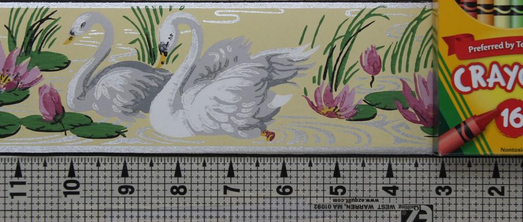 Duro Vintage Wallpaper Border White Swans on Yellow