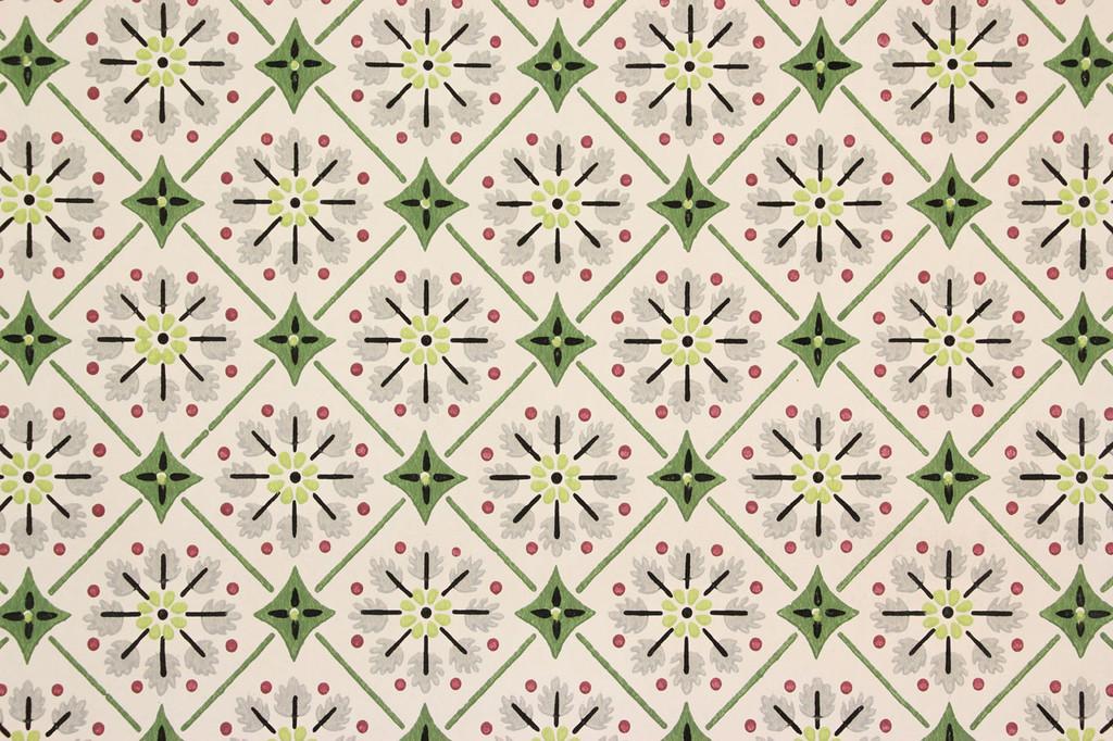 1940s Vintage Wallpaper Green Geometric on White