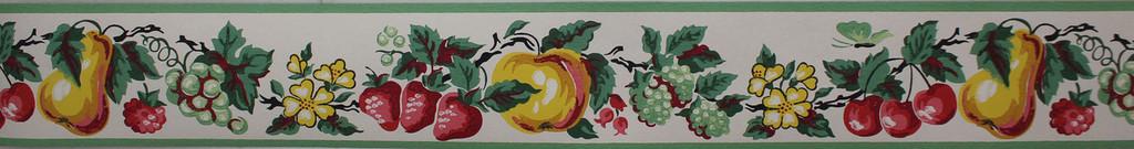 Imperial Vintage Wallpaper Border Fruit White