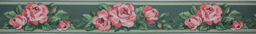 Imperial Vintage Wallpaper Border Pink Roses