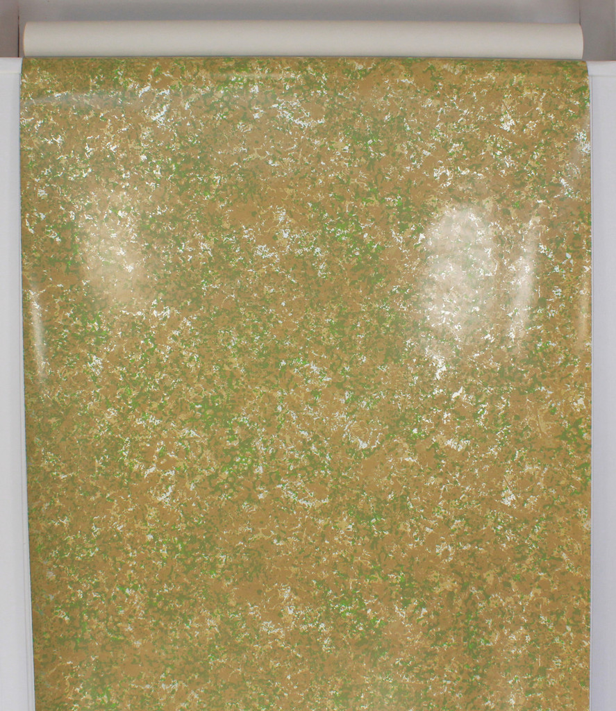 1970s Vintage Wallpaper Mod Green and Brown Foil