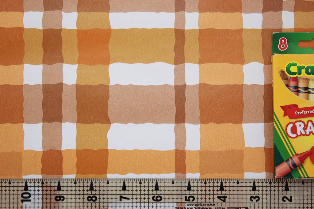 1970s Vintage Wallpaper Orange and Brown Plaid Vinyl