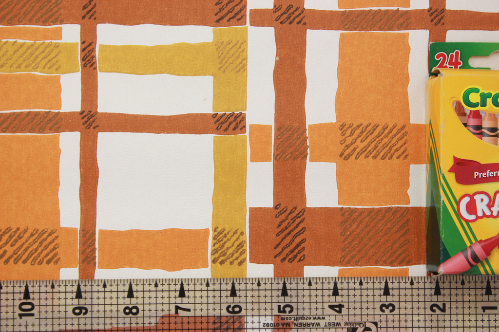 1970s Vintage Wallpaper Orange and Brown Plaid