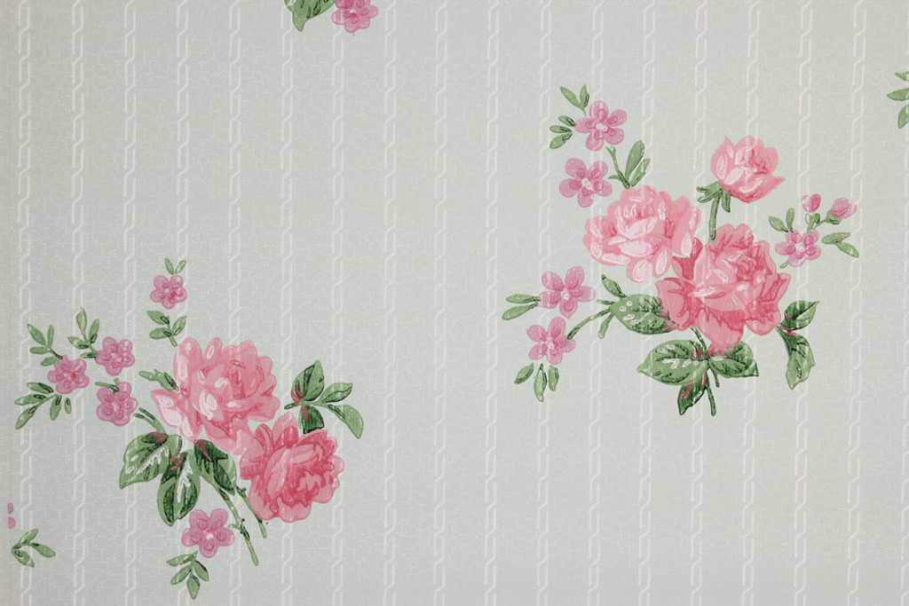 1940s Vintage Wallpaper Pink Roses On Blue