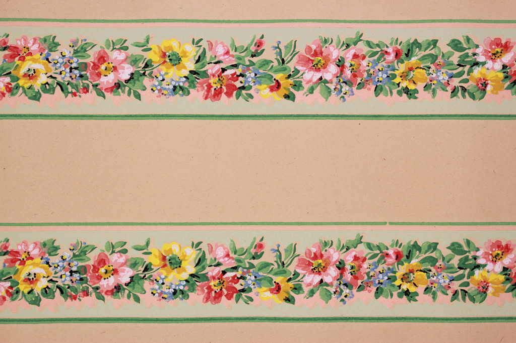1930s Vintage Wallpaper Border Red and Yellow Flowers on Green