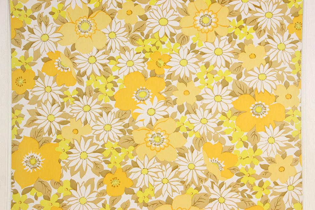 1970s vintage wallpaper retro yellow and white flowers rosies 1970s vintage wallpaper retro yellow and white flowers mightylinksfo
