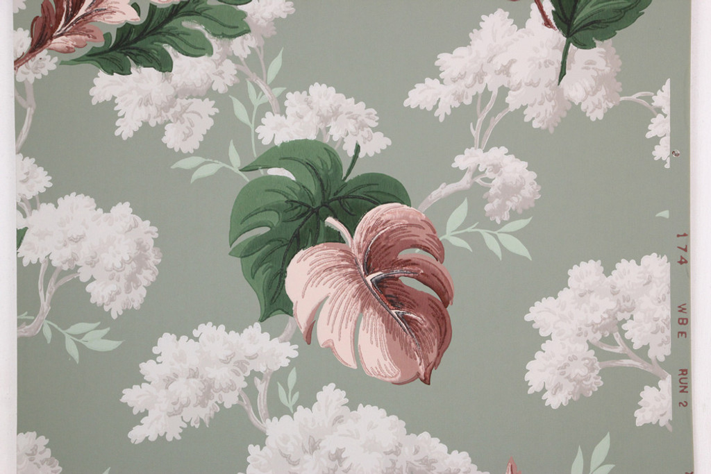 1940s vintage wallpaper white flowers red and green leaves rosies 1940s vintage wallpaper white flowers red and green leaves mightylinksfo