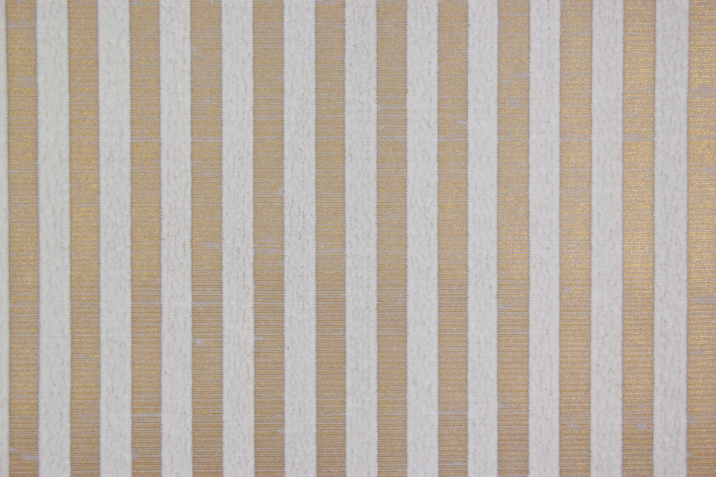 1970s Vintage Wallpaper White Flocked Stripe on Gold