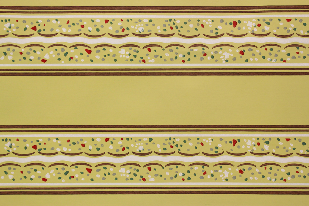 1940s Vintage Wallpaper Border Yellow and Brown