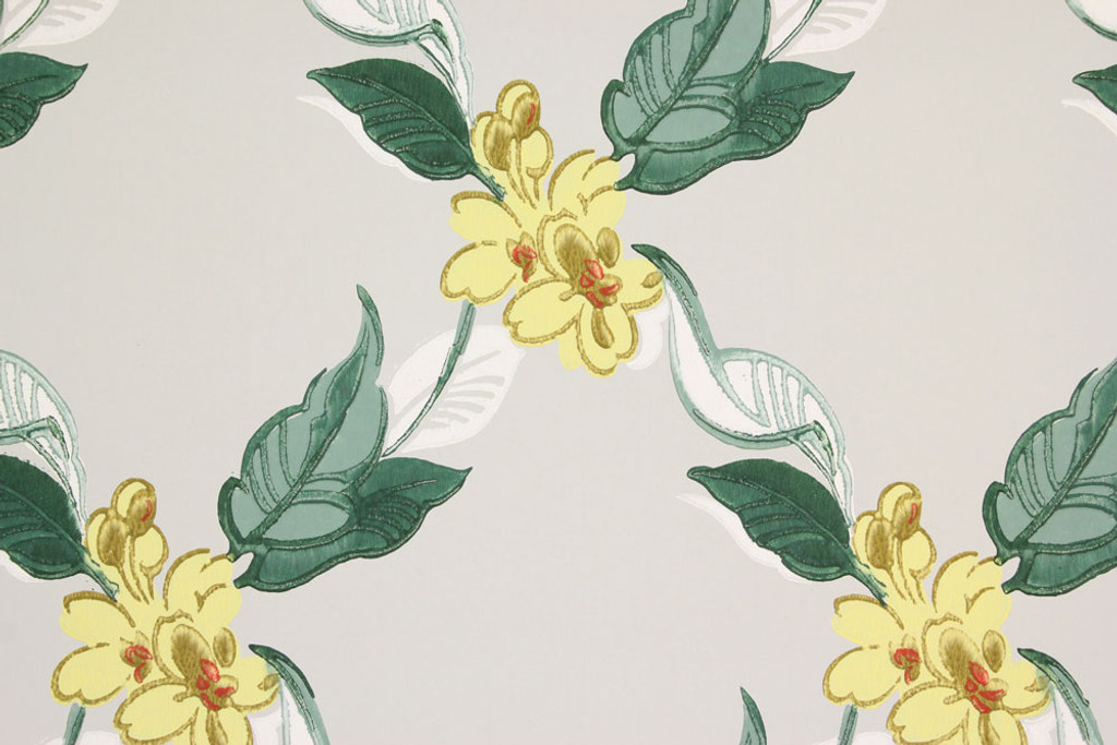 1940s vintage wallpaper yellow flowers on gray rosies vintage 1940s vintage wallpaper yellow flowers on gray mightylinksfo