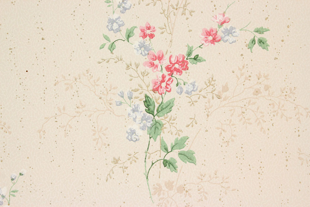 1940s Vintage Wallpaper Pink and Blue Flower Bouquets - Rosie\'s ...